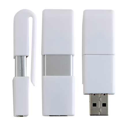 "USB-Flash накопитель - брелок (флешка) ""CLIP"",  4 Gb. Белый"