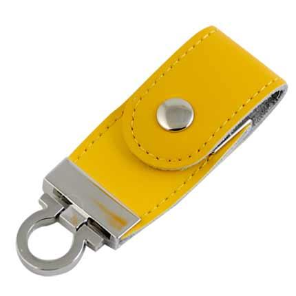 """USB-Flash накопитель (флешка) """"Button"""" в кожаном корпусе с металлическими вставками, с клапаном на кнопке,  4 Gb, жёлтый"""
