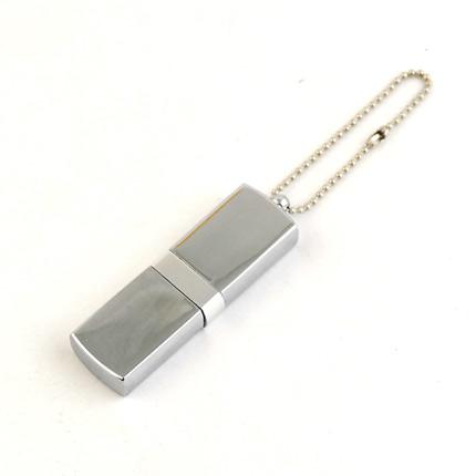 """USB-Flash накопитель (флешка) """"GLOSS"""" на цепочке, с металлическим корпусом и цветной полосой по середине,  4 Gb, белый"""