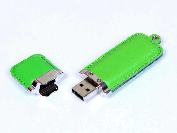 Флешка кожаная прямоугольная 4 Гб. Зеленый, USB2.0