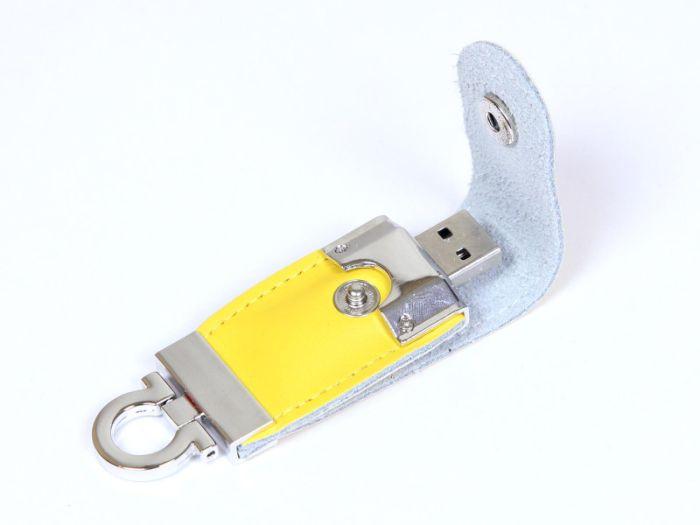Флешка-брелок  кожаная 8 Гб. Желтый, USB2.0