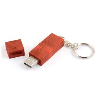 USB-Flash накопитель - брелок в деревянном корпусе прямоугольной формы с металл. кольцом, модель Wood2, объем памяти 16 Gb, красно-коричневый лак