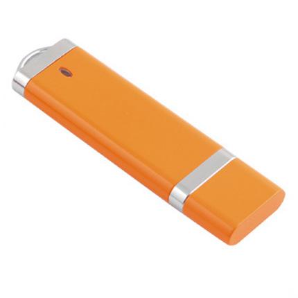 USB-Flash накопитель (флешка) из пластика классической прямоугольной формы, модель 002, объем памяти 16 Gb, цвет оранжевый