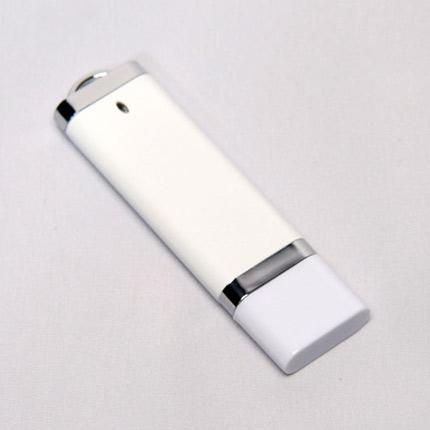 USB-Flash накопитель (флешка) из пластика классической прямоугольной формы, модель 002, объем памяти 16 Gb, цвет белый