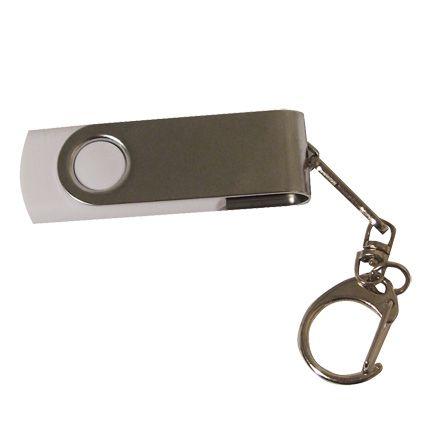 Флешка в металлическом корпусе с пластиковыми вставками, модель 030, 16 Gb, USB 2.0, цвет белый