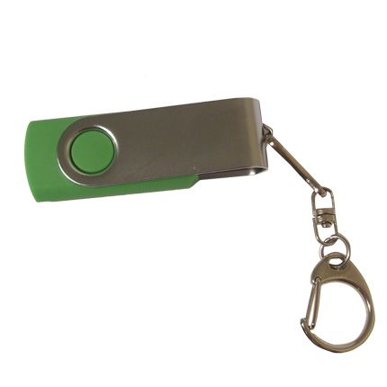 USB-Flash накопитель - брелок (флешка) в металлическом корпусе с пластиковыми вставками, модель 030, объем памяти 16 Gb, цвет зеленый