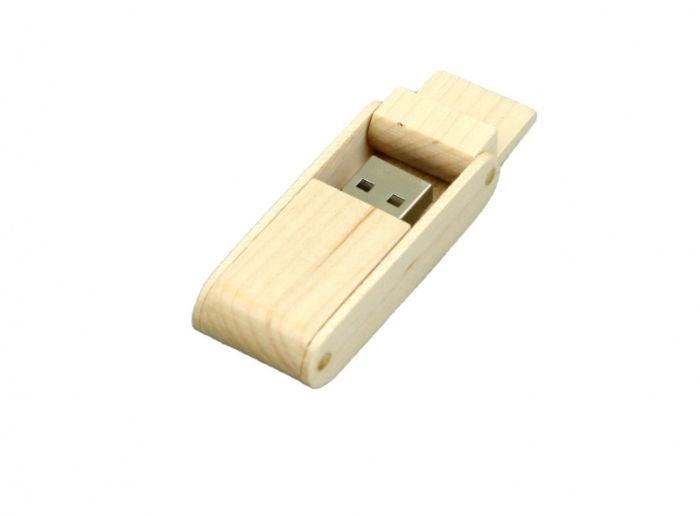 Флешка прямоугольная из дерева с раскладным корпусом 16 Гб. Белый, USB2.0