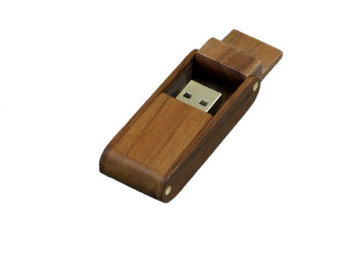 Флешка прямоугольная из дерева с раскладным корпусом 16 Гб. Красный, USB2.0