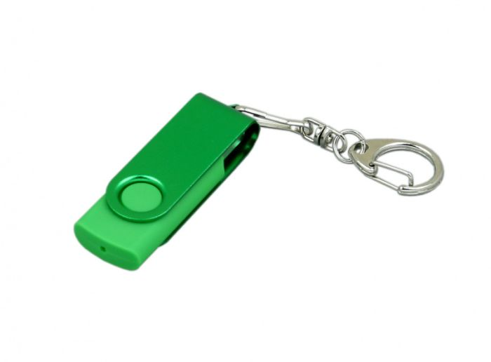 Флешка промо поворотный механизм , модель 031,  объем памяти 16 Гб.Цвет зеленый, USB2.0