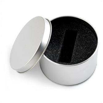 Подарочная круглая металлическая коробка для USB-Flash накопителя, серая (имеются дефекты, не влияющие на потребительские свойства товара)