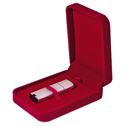 Подарочная коробка для USB-Flash накопителя, красный бархат (незначительный брак, не влияющий на потребительские свойства)