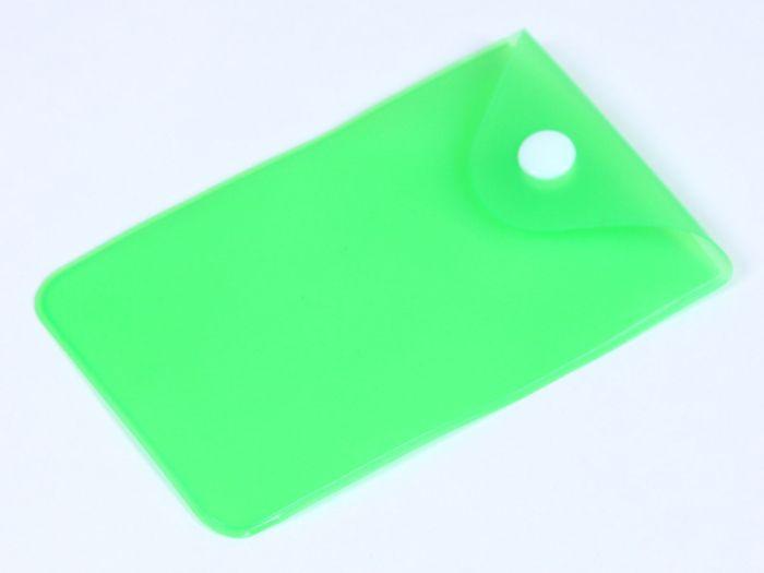 PVC прозрачный кармашек для флешки , зеленый
