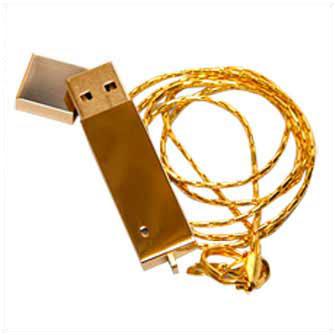 """USB-Flash накопитель (флешка) """"BRICK"""", 32 Gb, металлический корпус, зеркальный хром, золотистый глянец, длинная цепочка"""