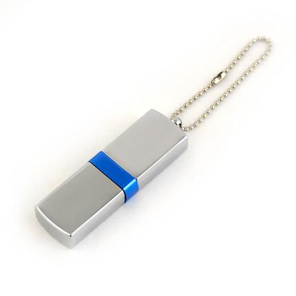 """USB-Flash накопитель (флешка) """"GLOSS"""" на цепочке, с металлическим корпусом и цветной полосой по середине, 32 Gb, синий"""