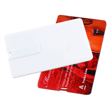 """USB-Flash накопитель (флешка) """"Canvas"""" в виде кредитной карты, возможно полноцветное нанесение с двух сторон, 32 Gb, белый"""