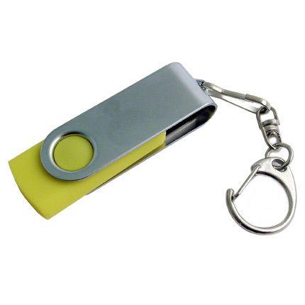 USB-Flash накопитель - брелок (флешка) в металлическом корпусе с пластиковыми вставками, модель 030, объем памяти 32 Gb, цвет желтый
