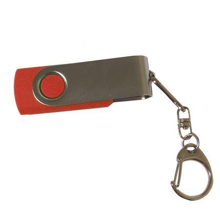 USB-Flash накопитель - брелок (флешка) в металлическом корпусе с пластиковыми вставками, модель 030, объем памяти 32 Gb, цвет красный