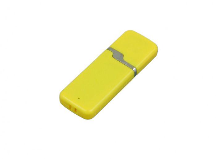 USB-Flash накопитель (флешка) промо прямоугольной формы c оригинальным колпачком, модель 004, объем памяти 32 Gb, цвет жёлтый