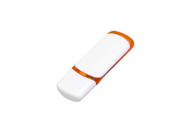 USB-Flash накопитель (флешка) промо прямоугольной классической формы, модель 003, объем памяти 32 Gb, цвет белый с оранжевыми вставками