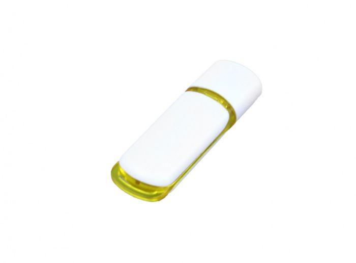 USB-Flash накопитель (флешка) промо прямоугольной классической формы, модель 003, объем памяти 32 Gb, цвет белый с жёлтыми вставками