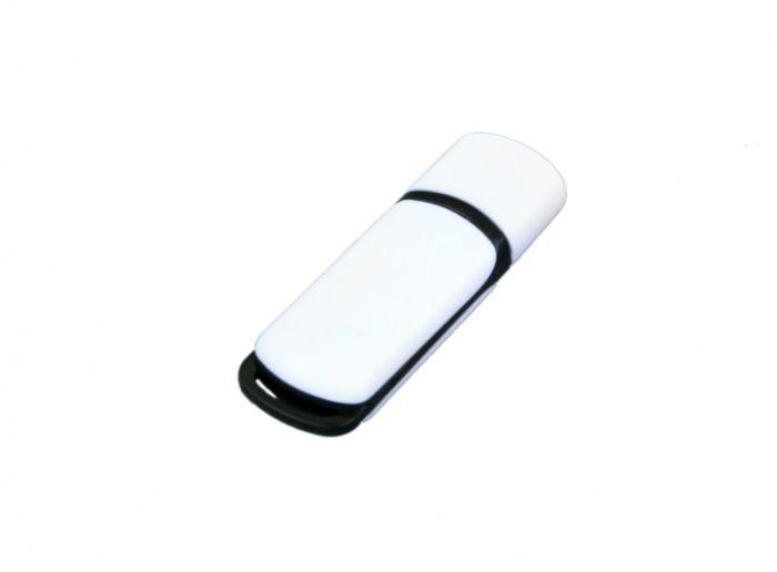 USB-Flash накопитель (флешка) промо прямоугольной классической формы, модель 003, объем памяти 32 Gb, цвет белый с чёрными вставками