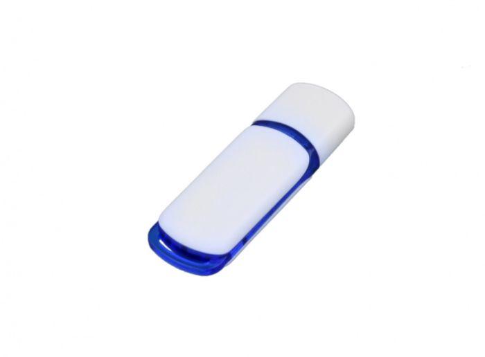 USB-Flash накопитель (флешка) промо прямоугольной классической формы, модель 003, объем памяти 32 Gb, цвет белый с синими вставками