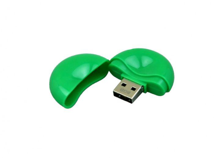 USB-Flash накопитель (флешка) круглой формы из пластика, модель 021-Round, объем памяти 32 Gb, цвет зелёный