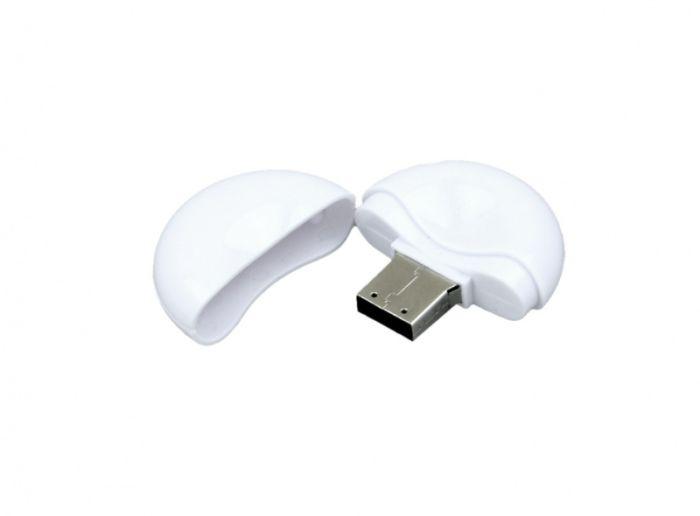 USB-Flash накопитель (флешка) круглой формы из пластика, модель 021-Round, объем памяти 32 Gb, цвет белый