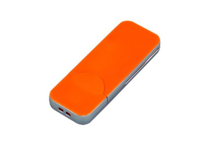 USB-Flash накопитель (флешка) в стиле I-phone, модель I-phone_style, прямоугольной формы, объем памяти 64 Gb, цвет оранжевый