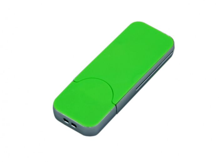 USB-Flash накопитель (флешка) в стиле I-phone, модель I-phone_style, прямоугольной формы, объем памяти 64 Gb, цвет зелёный