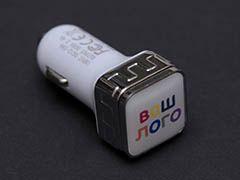Автомобильная зарядка, 2 USB порта, квадратное основание для логотипа, Серебряный