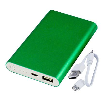 Универсальное зарядное устройство power bank PBM02, ёмкость 8000 mah, цвет зелёный металлик