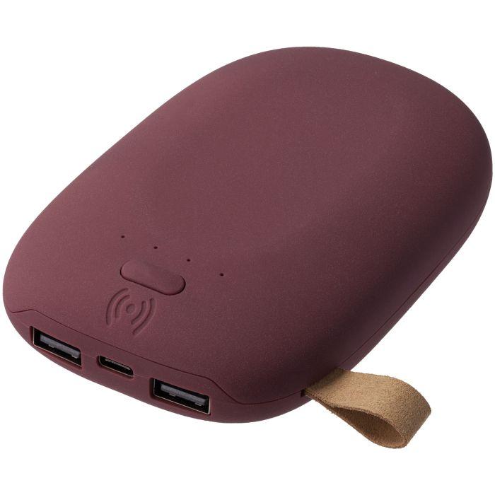 Внешний аккумулятор с функцией беспроводной зарядки Pebble Wireless 9000 мАч, цвет винный