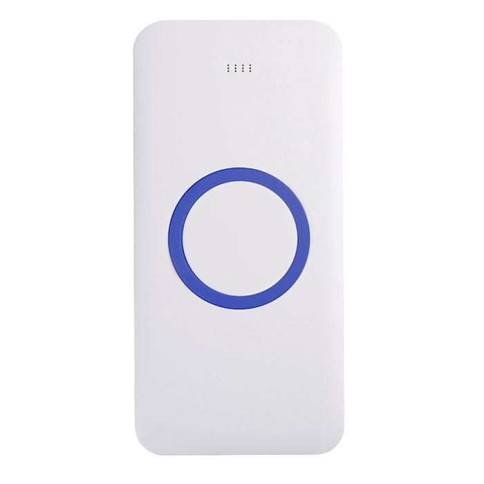 Универсальное зарядное устройство (8000mAh) с функцией беспроводной зарядки SATURN, цвет белый с синим