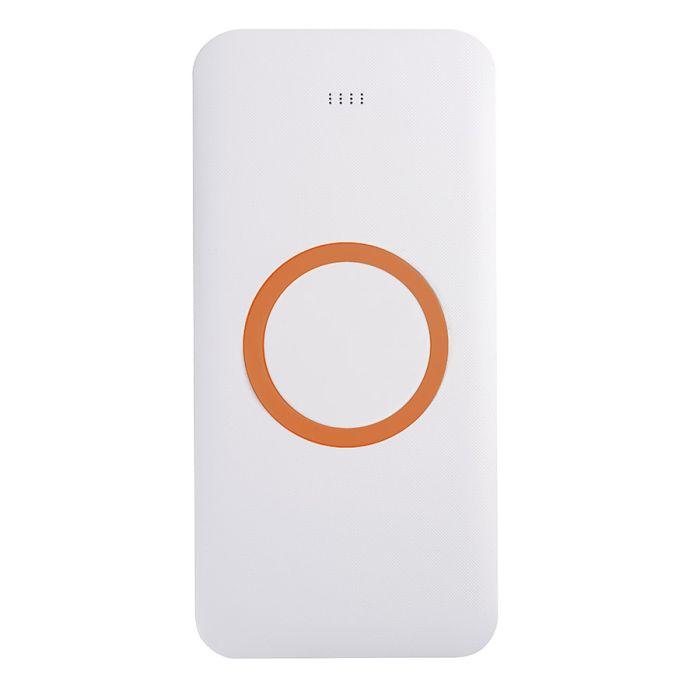 Универсальное зарядное устройство (8000mAh) с функцией беспроводной зарядки SATURN, цвет белый с оранжевым