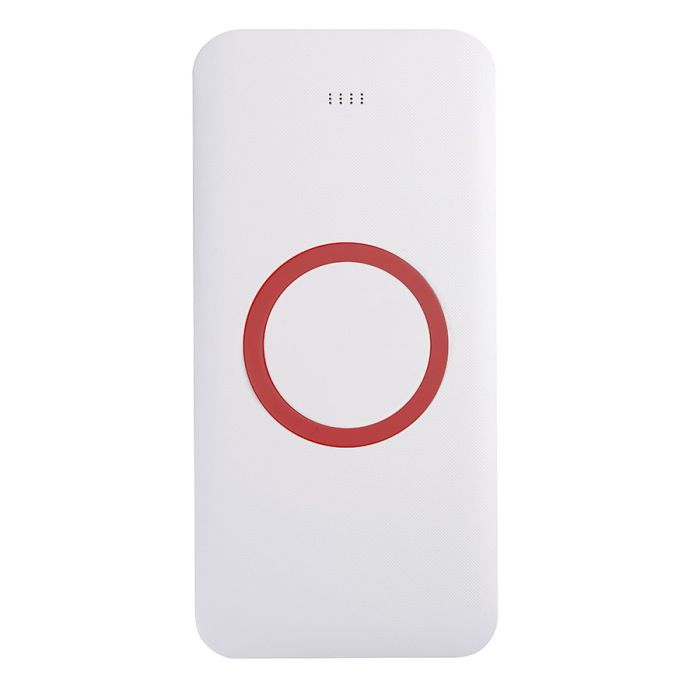 Универсальное зарядное устройство (8000mAh) с функцией беспроводной зарядки SATURN, цвет белый с красным