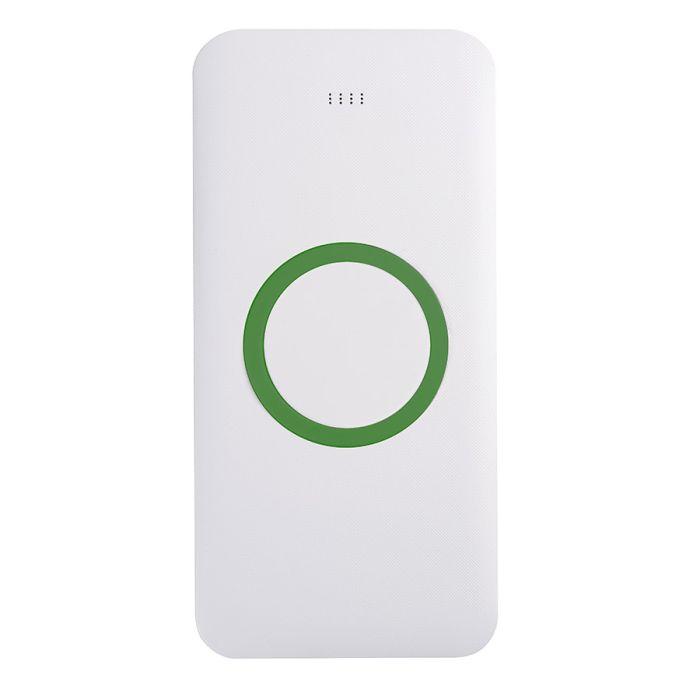 Универсальное зарядное устройство (8000mAh) с функцией беспроводной зарядки SATURN, цвет белый с зелёным