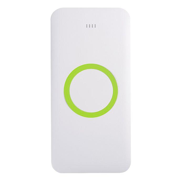Универсальное зарядное устройство (8000mAh) с функцией беспроводной зарядки SATURN, цвет белый/зелёное яблоко