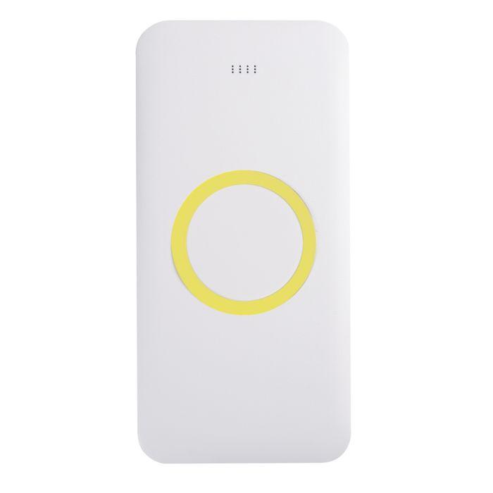 Универсальное зарядное устройство (8000mAh) с функцией беспроводной зарядки SATURN, цвет белый с жёлтым