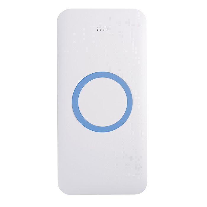 Универсальное зарядное устройство (8000mAh) с функцией беспроводной зарядки SATURN, цвет белый с голубым