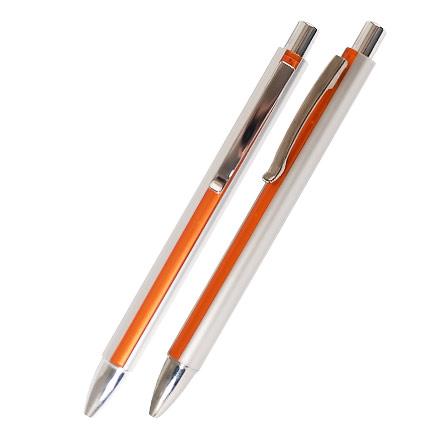 """Ручка шариковая пластиковая """"Кота"""", серебристый корпус с оранжевой  полосой, клип, кнопка, наконечник хромированные."""