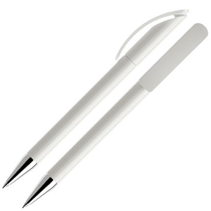 Ручка шариковая Prodir, модель DS3 TPC, с хромированным металлическим наконечником, цвет корпуса белый