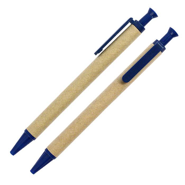 Шариковая ЭКО ручка из картона с пластиковой кнопкой, клипом и наконечником, цвет тёмно-синий (654C)