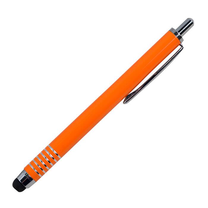Ручка металлическая со стилусом, цвет корпуса оранжевый (по пантону 1505С)