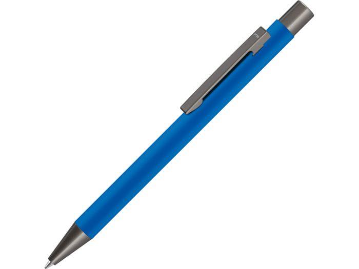 """Ручка металлическая шариковая """"STRIGHT GUM"""" с покрытием SOFT TOUCH с зеркальной гравировкой, цвет синий"""
