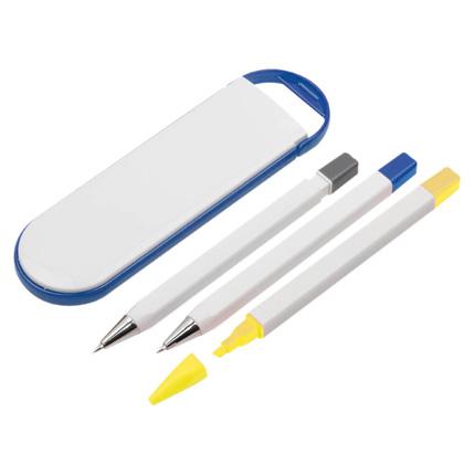 """Набор """"Квартет"""": шариковая ручка, маркер и карандаш в футляре синего цвета"""
