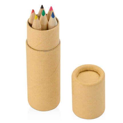 Цветные карандаши (6 штук) в картонном тубусе