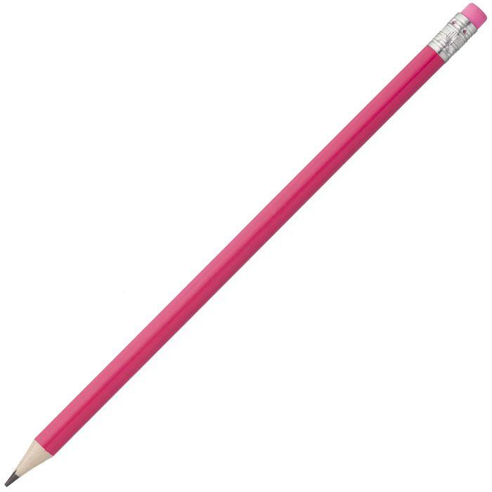 Карандаш простой Hand Friend с ластиком, корпус деревянный цилиндрический розовый