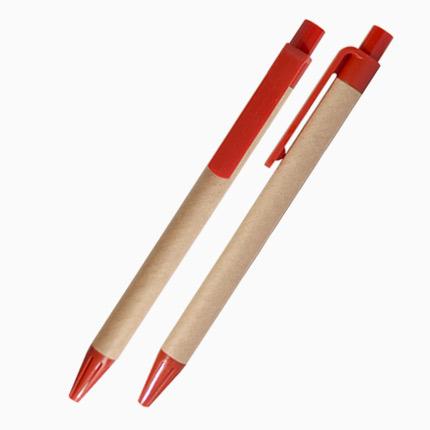 Шариковая ЭКО ручка из картона  с пластиковым клипом, кнопкой и наконечником, красная