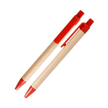 Шариковая ЭКО ручка из картона с пластиковой кнопкой, клипом и наконечником, красная